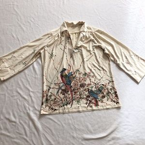 Vintage blouse bird novelty print wide arms M